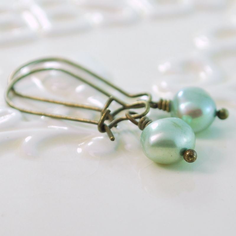 Mint Green Freshwater Pearl Earrings in Antiqued Brass - product images  of