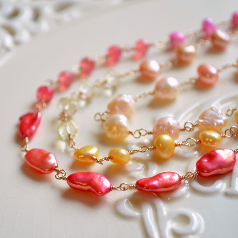 Long Gemstone and Pearl Necklace, Coral Pink, Orange and Yellow, Gold Jewelry - product images  of