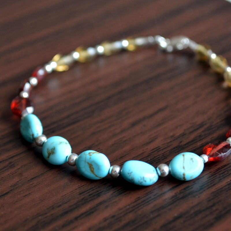 Turquoise Garnet and Beer Quartz Beaded Bracelet - product images  of