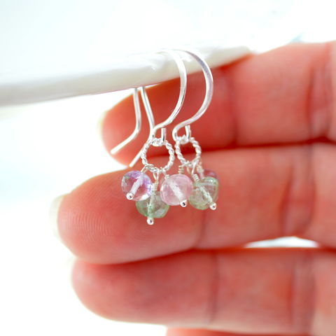 Emerald,Rose,Quartz,Pink,Amethyst,Cluster,Earrings,jewelry, earrings, sterling, silver, gemstone, emerald, pink amethyst, rose quartz