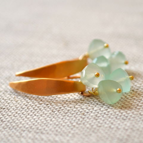 Aqua,Chalcedony,Earrings,in,Gold,Vermeil,jewelry, earrings, chalcedony, gemstone, aqua, mint green, hammered, gold, vermeil