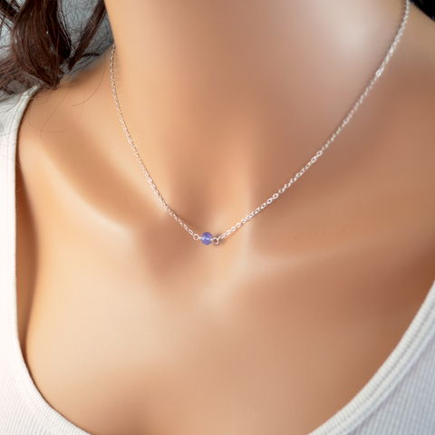 Simple,Tanzanite,Choker,Necklace,in,Sterling,Silver,jewelry, necklace, choker, sterling, silver, tanzanite, gemstone, semiprecious, periwinkle, simple, minimalist