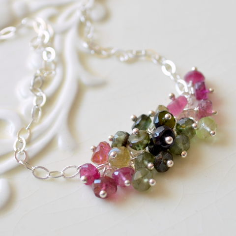 Tourmaline,Cluster,Necklace,in,Sterling,Silver,jewelry, necklace, gemstone, tourmaline, cluster, pink, green, sterling silver