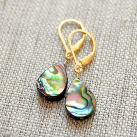 Abalone,Dangle,Earrings,in,Gold,Vermeil,jewelry, earrings, abalone, shell, paua, dangles, gold, vermeil, beach, summer, leverback
