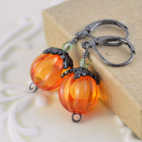 Bright,Orange,Pumpkin,Earrings,on,Black,Gunmetal,Levers,jewelry, earrings, Halloween, Autumn, pumpkin, black, gunmetal, fun, Swarovski crystal, bright orange, lucite, leverback