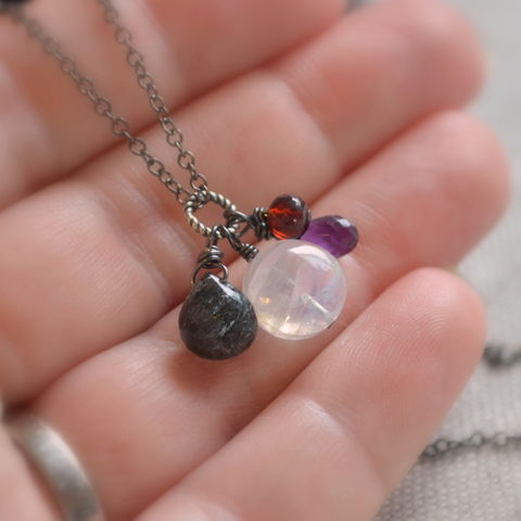 Halloween,Necklace,with,Rainbow,Moonstone,,Amethyst,,Garnet,and,Black,Rutilated,Quartz,on,Gunmetal,Chain,jewelry, necklace, gemstone, rainbow moonstone, amethyst, garnet, black rutilated quartz, gunmetal, Halloween, spooky, fun