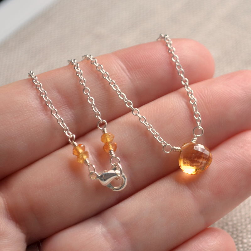 Simple Citrine Choker Necklace on Silver Plated Chain - product images  of