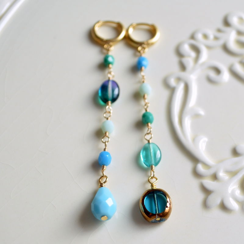 Turquoise and Green Asymmetrical Earrings in Gold Plate - product images  of