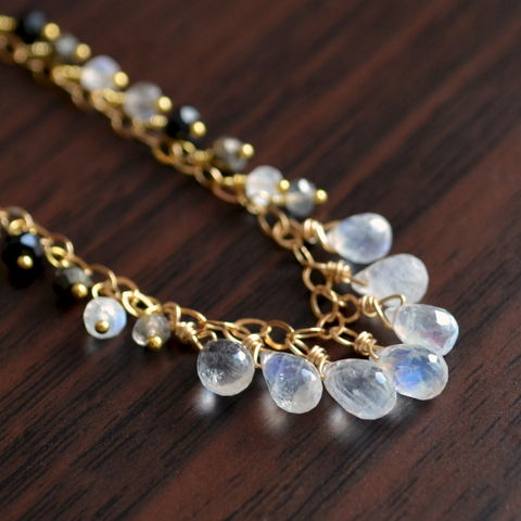 Rainbow,Moonstone,Necklace,with,Pyrite,,Labradorite,and,Black,Onyx,in,Gold,jewelry, necklace, handmade, gemstone, rainbow moonstone, gold, gold filled, pyrite, labradorite, black onyx, neutral, elegant