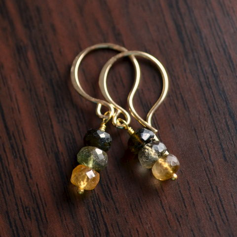 Forest,Green,,Olive,Green,and,Dark,Gold,Tourmaline,Stack,Earrings,jewelry, earrings, gemstone, tourmaline, gold, gold filled, stack, semiprecious, Autumn, Fall, olive green, drop, October birthstone