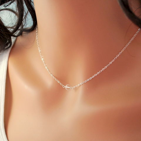 Simple,Crystal,Quartz,Choker,Necklace,in,Sterling,Silver,jewelry, necklace, choker, simple, gemstone, crystal quartz, rock crystal, minimalist, sterling silver