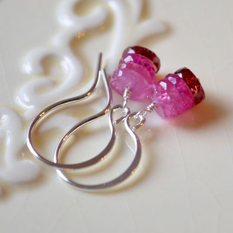 Garnet,and,Pink,Sapphire,Stack,Earrings,in,Sterling,Silver,jewelry, earrings, sterling silver, pink sapphire, garnet, red, pink, gemstone, precious, semiprecious, drop