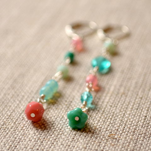 Mismatched,Coral,Pink,and,Aqua,Earrings,in,Silver,Plate,jewelry, earrings, silver plated, glass, czech, aqua, turquoise, mint green, coral pink, mismatched, unmatched, asymmetrical, long
