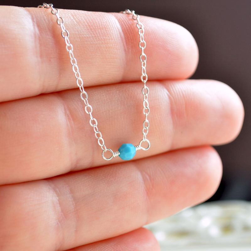 Choker Necklace with Turquoise Crystal in Sterling Silver - product images  of