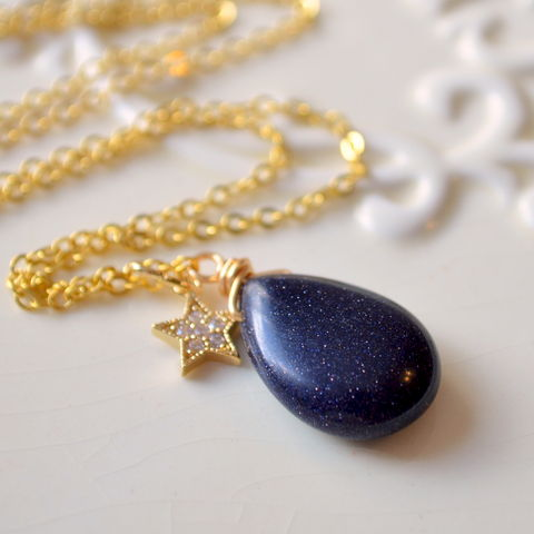 Navy,Blue,Goldstone,Necklace,in,Gold,with,Tiny,Star,jewelry, necklace, blue goldstone, navy blue, glass, gold plated, star, cubic zirconia, cz