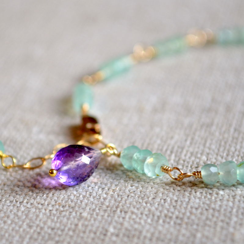 Chalcedony Gemstone Bracelet in Gold with Amethyst - product images  of
