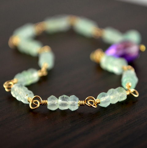 Chalcedony,Gemstone,Bracelet,in,Gold,with,Amethyst,jewelry, bracelet, chalcedony, mint green, gold, gold filled, amethyst, purple, gemstone, wire wrapped, handmade