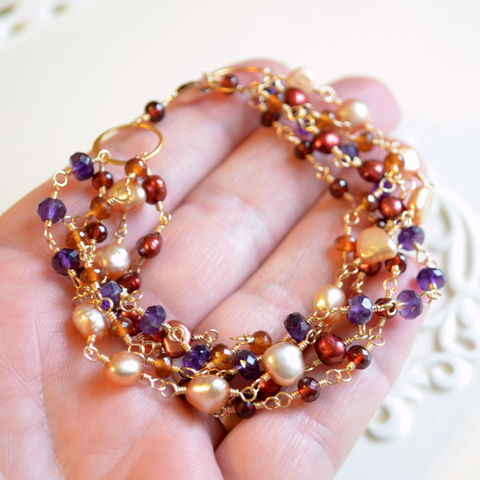 Multi,Strand,Bracelet,with,Garnet,,Spessartite,Amethyst,and,Freshwater,Pearls,in,Gold,jewelry, bracelet, multistrand, multi strand, garnet, spessartite, champagne, freshwater pearl, Autumn, Fall, gold