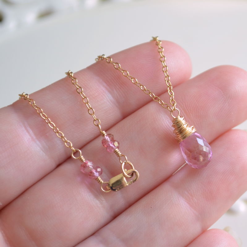 Pink Topaz Teardrop Necklace in Gold - product images  of