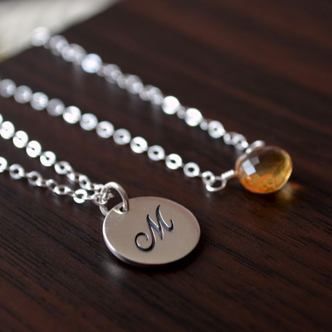 Initial,Layering,Necklaces,with,Citrine,in,Sterling,Silver,jewelry, necklace, layering set, sterling silver, citrine, gemstone, November birthstone, initial, personalized
