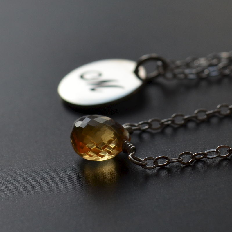 Initial Layering Necklaces with Citrine in Sterling Silver - product images  of