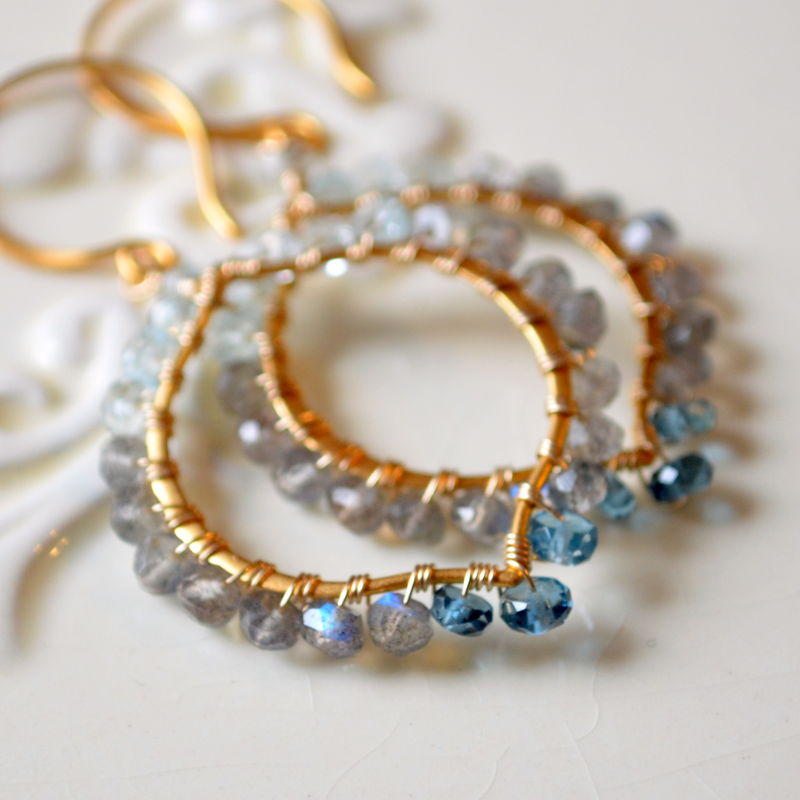 Labradorite Blue Topaz and London Blue Topaz Earrings in Gold Vermeil - product images  of