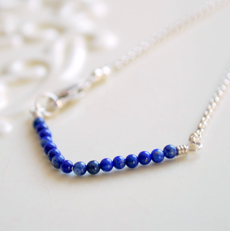 Lapis Lazuli Chevron Bracelet in Sterling Silver - product images  of