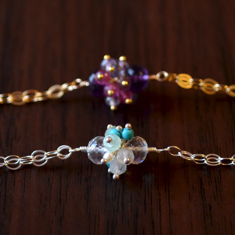 Cluster Bracelet with Amethyst and Pink Tourmaline in Gold - product images  of