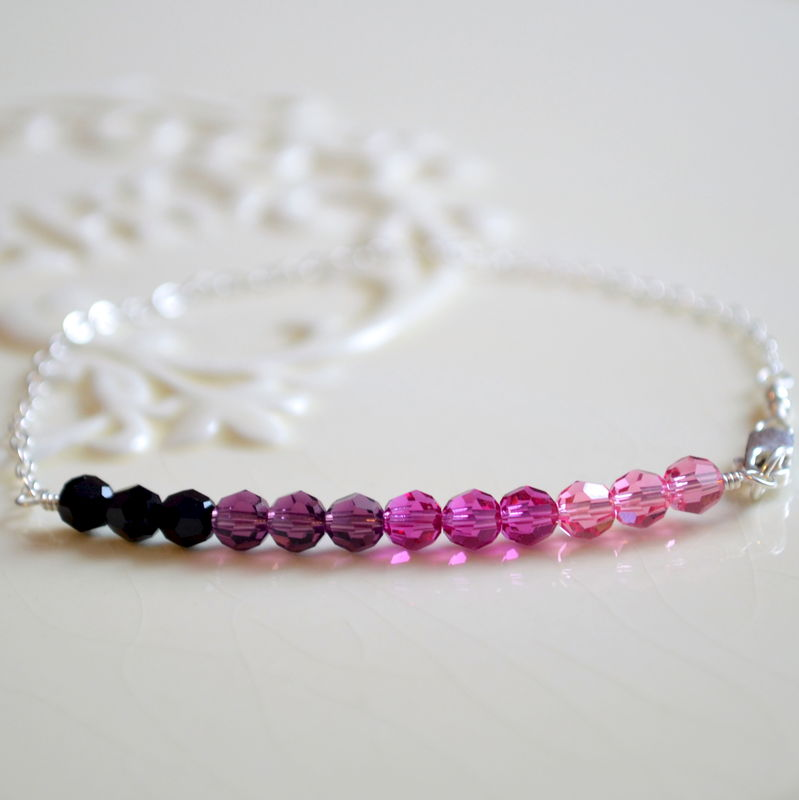 Purple and Pink Crystal Row Bracelet in Sterling Silver - product images  of