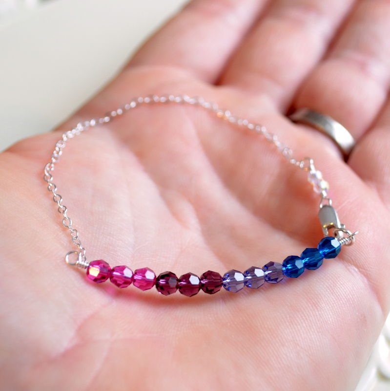Jewel Tone Crystal Bracelet in Sterling Silver - product images  of