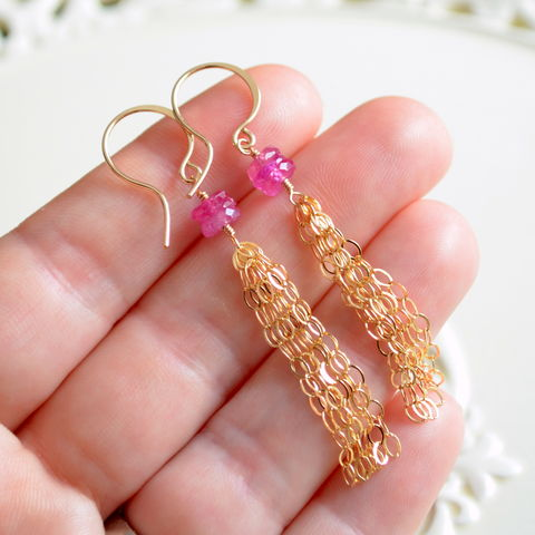 Pink,Sapphire,Tassel,Earrings,in,Gold,jewelry, earrings, pink sapphire, gemstone, tassel, gold, long