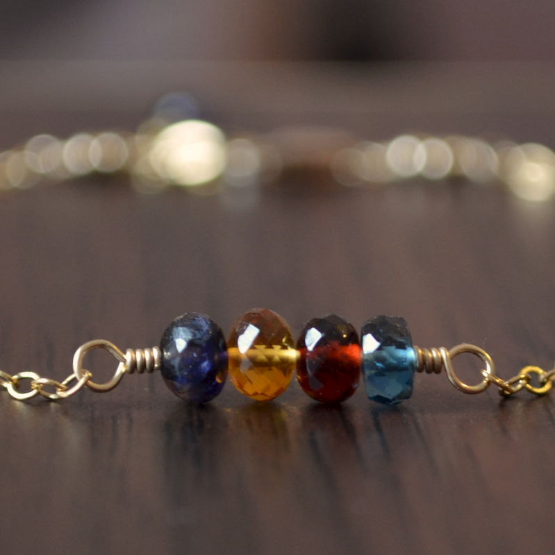 Dainty Family Bracelet with Birthstones in Gold or Sterling Silver - product images  of