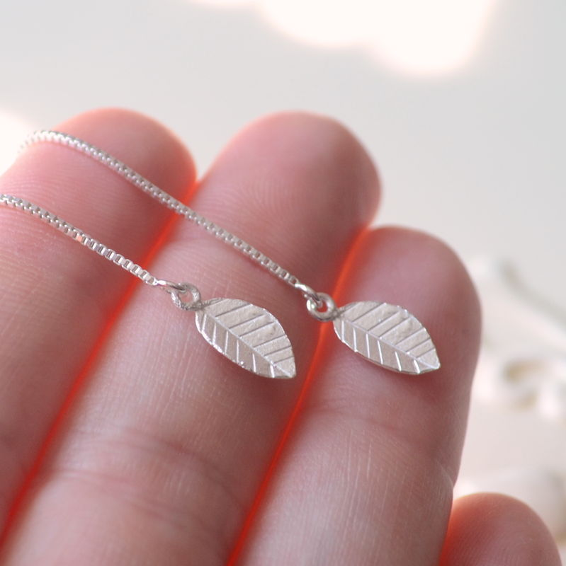 Leaf Threader Earrings in Sterling Silver - product images  of