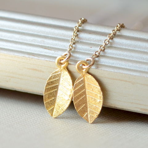 Leaf,Threader,Earrings,in,Gold,Vermeil,jewelry, earrings, threaders, leaf, gold vermeil, delicate, simple