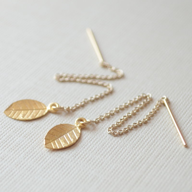 Leaf Threader Earrings in Gold Vermeil - product images  of