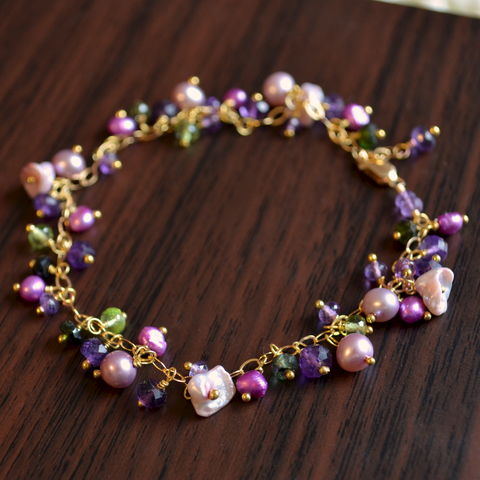 Cluster,Bracelet,with,Amethyst,and,Freshwater,Pearls,in,Gold,jewelry, bracelet, pearl, freshwater, bridal, Summer, Spring, gold, amethyst, gemstone, peridot, tourmaline, keishi