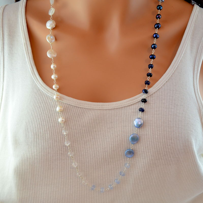 Long Blue and White Necklace in Sterling Silver or Gold - product images  of