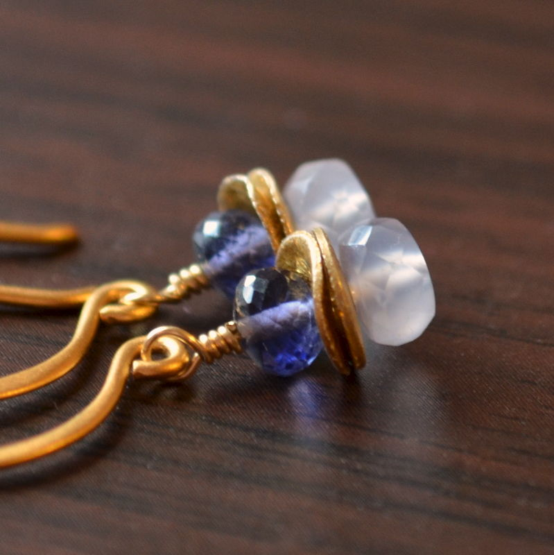 Iolite and Chalcedony Earrings in Gold - product images  of