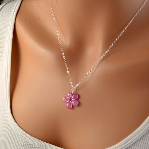 Pink,Sapphire,Flower,Necklace,in,Sterling,Silver,jewelry, necklace, pink sapphire, gemstone, bubblegum, sterling silver, flower