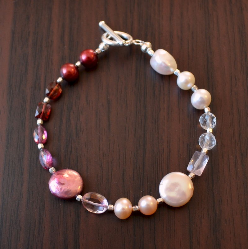 Gemstone and Pearl Valentine Bracelet in Sterling Silver - product images  of