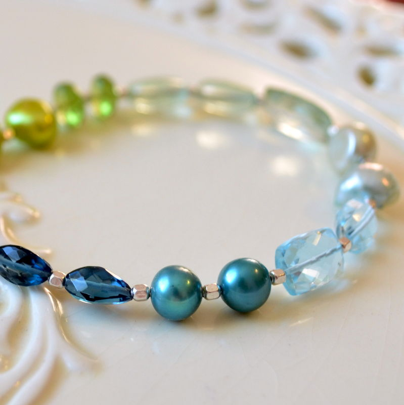 Beaded Bracelet in Blues and Greens, Sterling Silver - product images  of