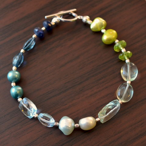 Beaded,Bracelet,in,Blues,and,Greens,,Sterling,Silver,jewelry, bracelet, gemstone, freshwater pearl, blue, green, london blue topaz, sterling silver, beaded
