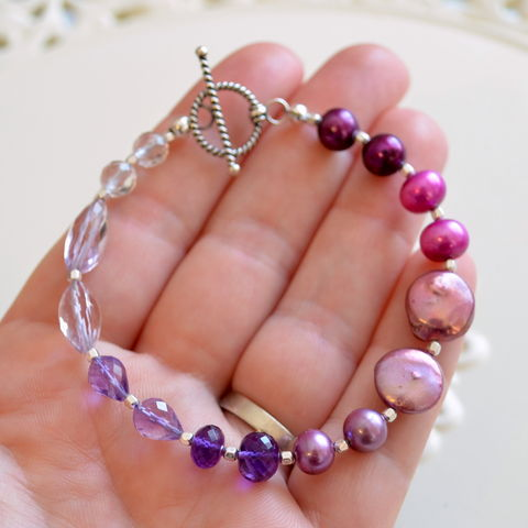 Amethyst,and,Pearl,Beaded,Bracelet,in,Sterling,Silver,jewelry, bracelet, beaded, gemstone, purple, lavender, amethyst, freshwater pearl, sterling silver