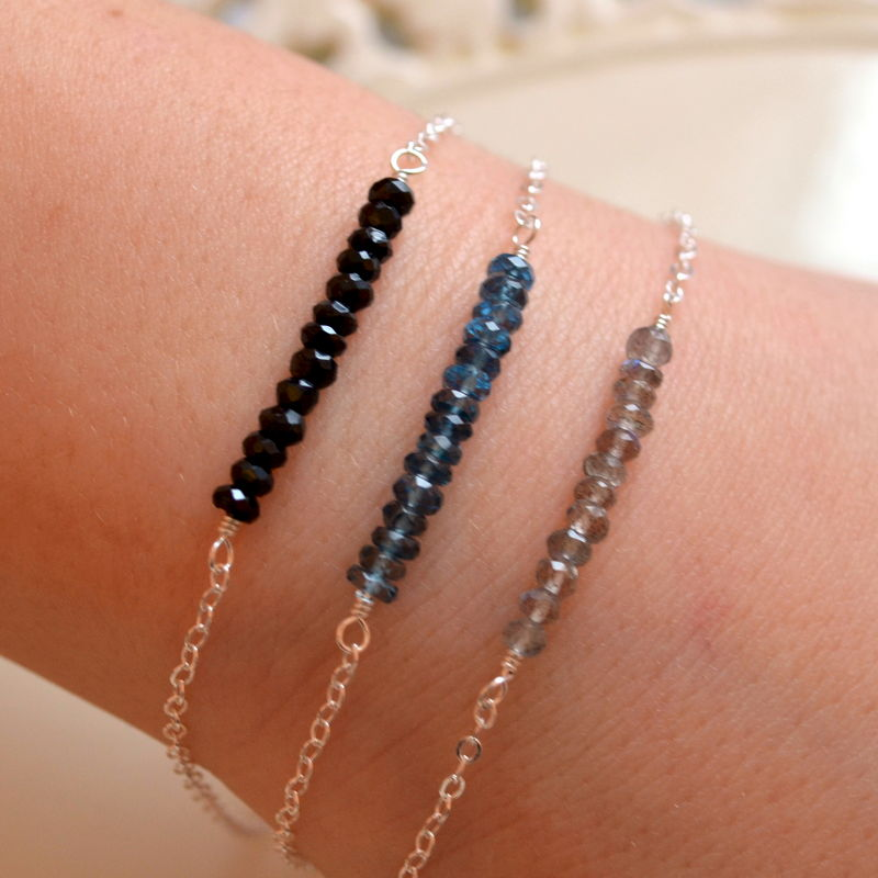 Labradorite London Blue Topaz and Black Spinel Stacking Bracelets in Silver - product images  of