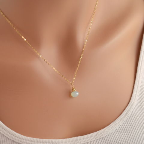 Simple,Chalcedony,Necklace,in,Gold,Jewelry,Wire_Wrapped,gold_filled,gemstone,semiprecious,genuine,luxe,luxurious,jewellery,simple,onion,chalcedony,frosted,blue,aqua,gold_fill