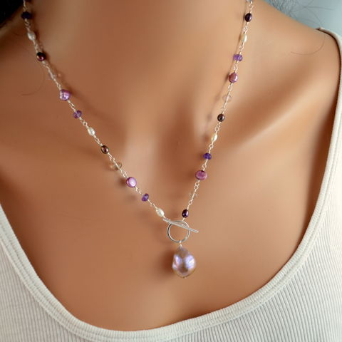 Pearl,Toggle,Necklace,with,Amethyst,and,Ametrine,in,Sterling,Silver,jewelry, necklace, toggle, sterling silver, freshwater pearl, amethyst, ametrine, lavender