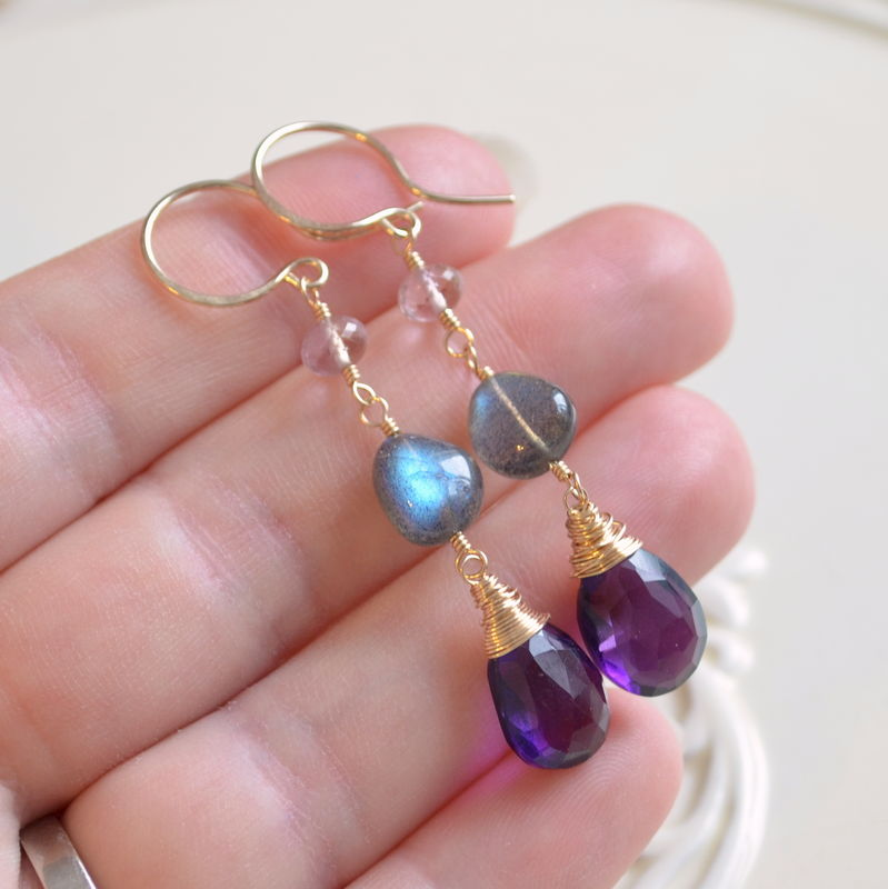Labradorite and Amethyst Dangle Earrings in Gold - product images  of