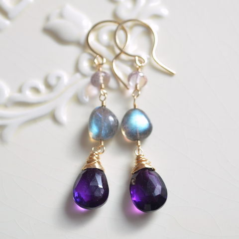 Labradorite,and,Amethyst,Dangle,Earrings,in,Gold,jewelry, earrings, gold, gold filled, labradorite, amethyst, ametrine, dangle, dark purple, gemstone