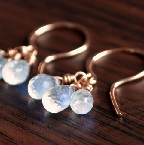 Rainbow,Moonstone,Earrings,in,Rose,Gold,jewelry, earrings, moonstone, rainbow, gemstone, rose gold, gold filled, delicate, dainty