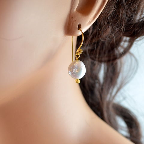 White,Coin,Pearl,Earrings,in,Gold,jewelry, earrings, coin pearl, freshwater, white, classic, gold, vermeil, drop